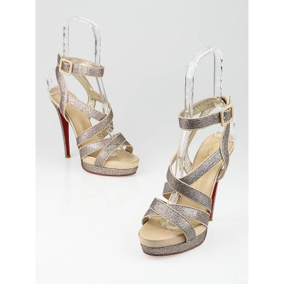 Christian Louboutin Multicolor Glitter-Leather Straratata 140 Platform Sandals Size 9/39.5