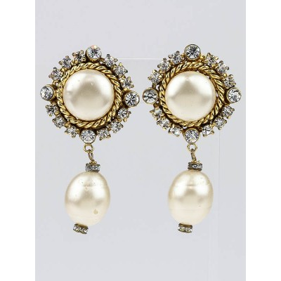 Chanel Vintage Faux Pearl and Crystal Drop Clip-On Earrings