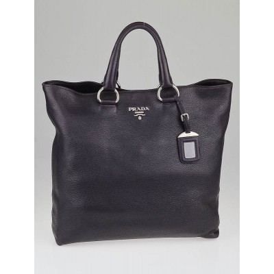 Prada Dark Purple Cervo Lux Large Shopping Tote Bag