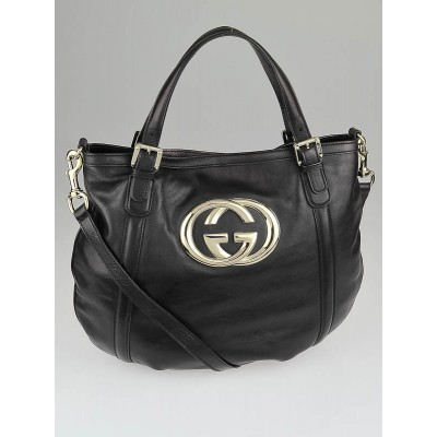 Gucci Black Leather Britt Hobo Messenger Bag