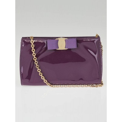 Salvatore Ferragamo Ametista Patent Leather Vera Piuma Clutch Bag