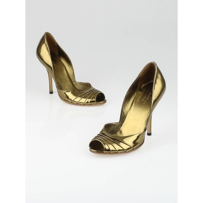 Gucci Bronze Metallic Patent Leather D'Orsay Pumps Size 5.5B/36