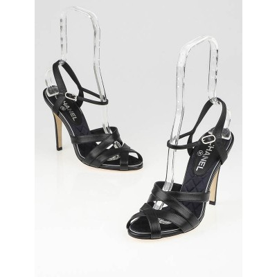 Chanel Black Leather Strappy Sandals Size 8.5/39