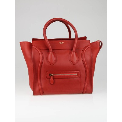 Celine Lipstick Smooth Calfskin Leather Mini Luggage Tote Bag