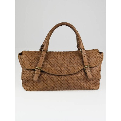 Bottega Veneta Noce Intrecciato Woven Leather Flap Satchel Bag