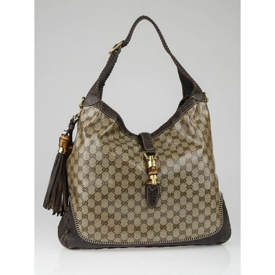 Gucci Beige/Ebony GG Coated Canvas New Jackie Large Shoulder Bag