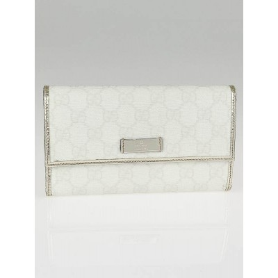 Gucci White GG Coated Canvas Long Flap Wallet