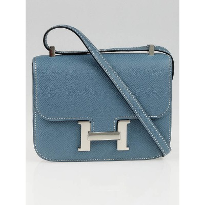 Hermes 14cm Blue Jean Epsom Leather Palladium Plated  Micro Constance Bag