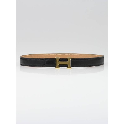 Hermes 18mm Black Box Leather/Beige Courchevel Leather Gold Plated Constance H Belt Size 60