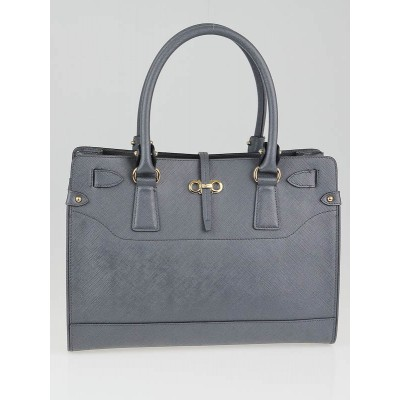 Salvatore Ferragamo Charcoal Pebbled Calf Briana Small Tote Bag