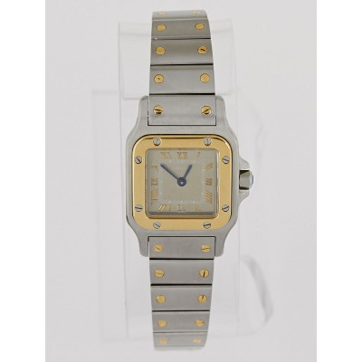 Cartier 24mm Stainless Steel and 18k Gold Santos Galbee Ladies Quartz Watch