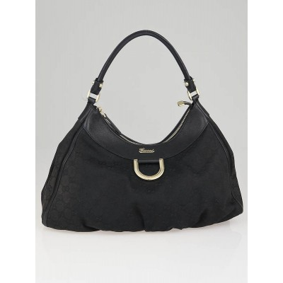 Gucci Black GG Canvas Gold D Ring Hobo Bag
