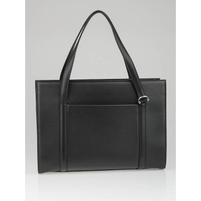 Cartier Black Leather Cabochon Briefcase Tote Bag