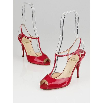 Christian Louboutin Raspberry Patent Leather Ernesta T-Strap Pumps Size 7.5/38