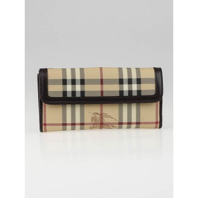Burberry Haymarket Check Coated Canvas Long Continental Wallet