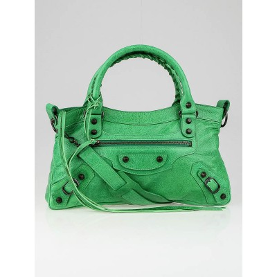 Balenciaga Vert Poker Lambskin Leather Motorcycle First Bag