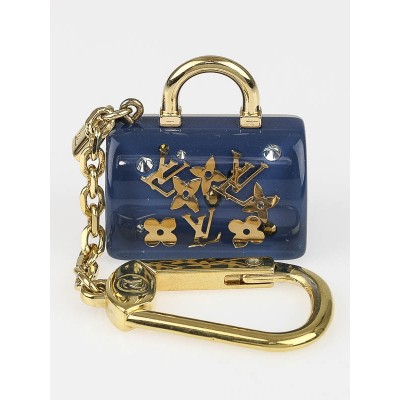 Louis Vuitton Blue Inclusion Speedy Key Holder and Bag Charm
