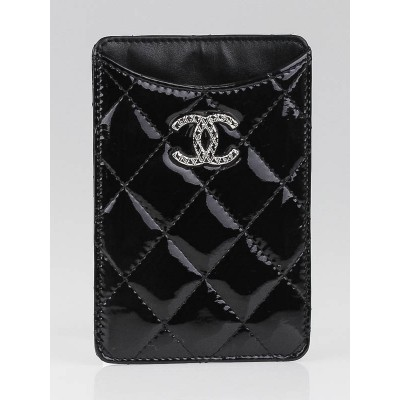 Chanel Black Quilted Patent Leather CC iPhone 4 Case