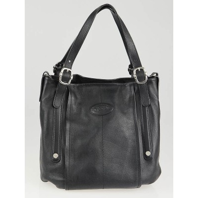 Tod's Black Leather G Easy Sacca Media Tote Bag