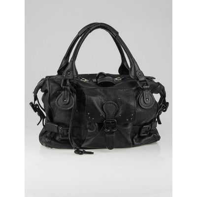 Chloe Black Leather Front Pocket Paddington Satchel Bag