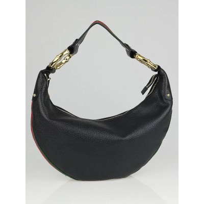 Gucci Pebbled Leather Bamboo Ring Medium  Hobo Bag