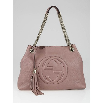 Gucci Pink Calfskin Leather Soho Chain Tote Bag