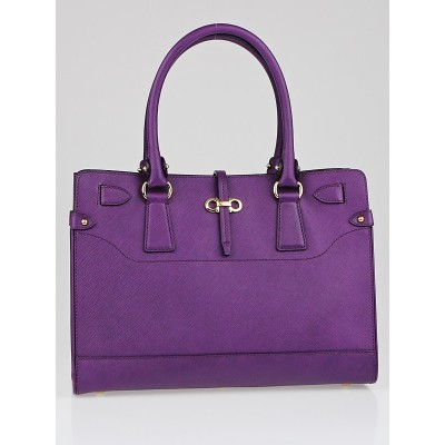 Salvatore Ferragamo Purple Pebbled Leather Briana Small Tote Bag