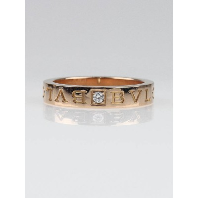 Bvlgari 18k Pink Gold and Diamond Signature Band Size 7.5