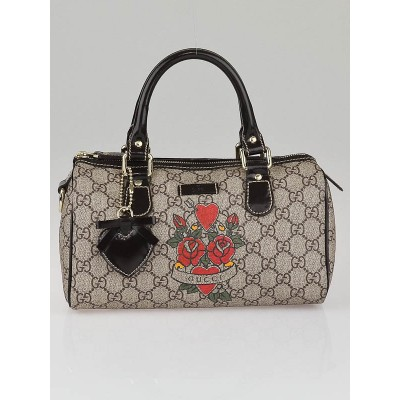 Gucci Beige/Ebony GG Coated Canvas Tattoo Heart Small Joy Boston Bag