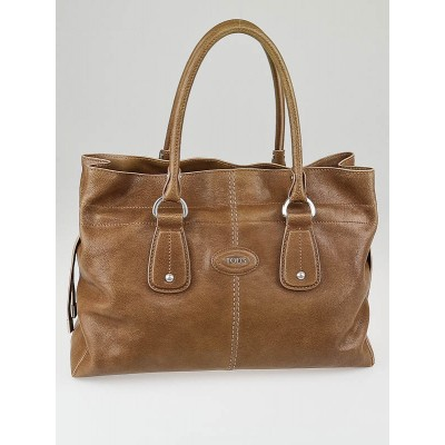 Tod's Light Brown Calfskin Leather D Style Media Bag