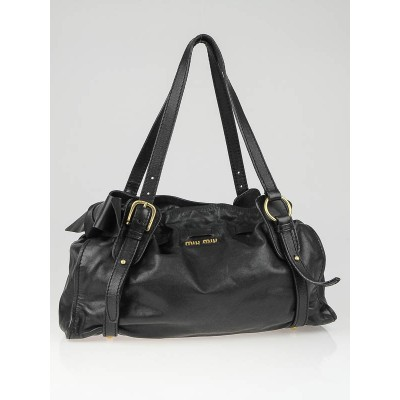 Miu Miu Black Leather Bow Satchel Bag