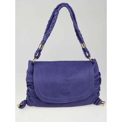 Tod's Purple Leather Softy Flap Media Bag