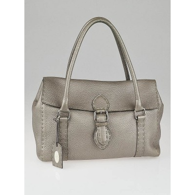 Fendi Metallic Pewter Pebbled Selleria Leather Linda Shoulder Bag