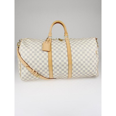 Louis Vuitton Damier Azur Keepall Bandouliere 55 Bag