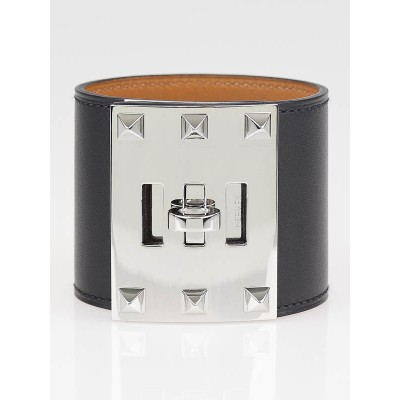 Hermes Black Chamonix Leather Kelly Dog Extreme Bracelet Size S