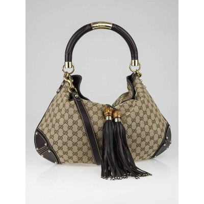 Gucci Beige/Ebony GG Canvas Large Indy Babouska Bag