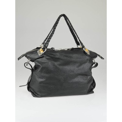 Gucci Black Leather Bamboo Bar Large Shoulder Bag
