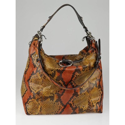 Gucci Orange/Brown Python Large Icon Bit Hobo Bag