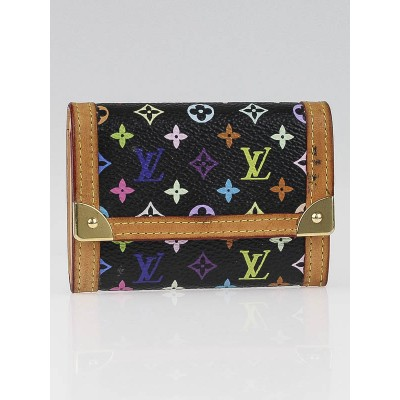 Louis Vuitton Black Monogram Multicolore Porte-Monnaie Plat