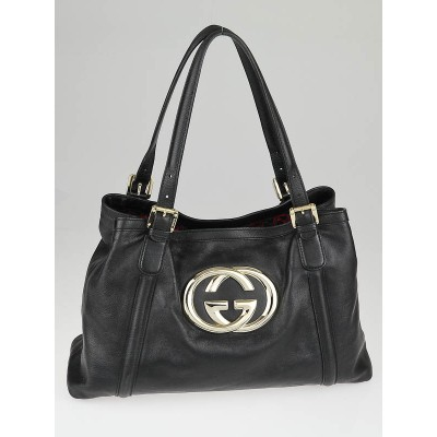 Gucci Black Leather Britt Medium Tote Bag
