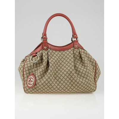 Gucci Beige/Pink Diamante Canvas Medium Sukey Tote Bag