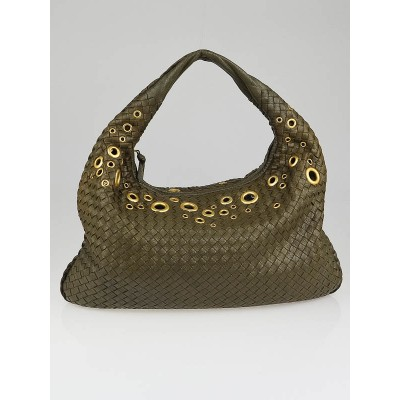 Bottega Veneta Olive Intrecciato Woven Goatskin Leather Rivet Large Veneta Hobo Bag