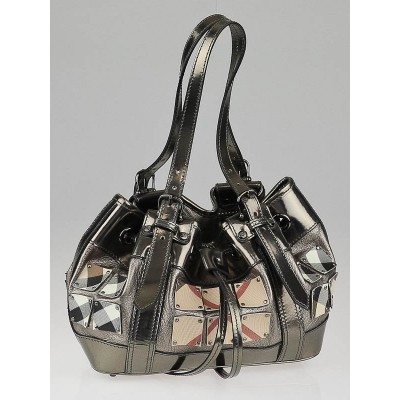Burberry Silver Leather Supernova Check Armored Baby Beaton Bag