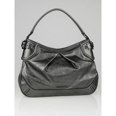 Burberry Metallic Anthracite Leather Fairby Hobo Bag
