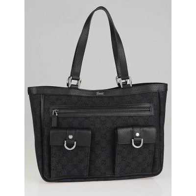 Gucci Black GG Canvas Abbey Pocket Tote Bag
