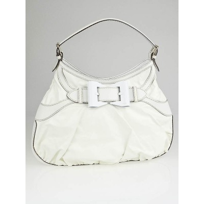Gucci White Dialux Coated Canvas Queen Large Hobo Bag