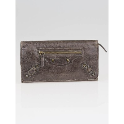 Balenciaga Charbon Lambskin Leather Classic Money Wallet