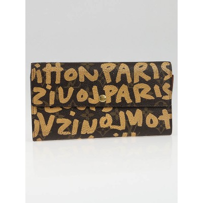 Louis Vuitton Limited Edition Beige Graffiti Stephen Sprouse Pochette Porte Monnaie Wallet