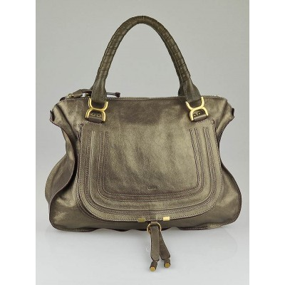 Chloe Taupe Metallic Large Marcie Tote Bag