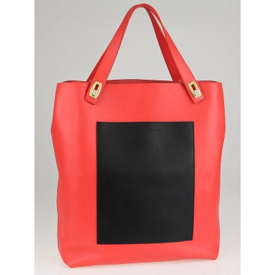Balenciaga Coral/Black Calfskin Leather Pocket Tote M Bag